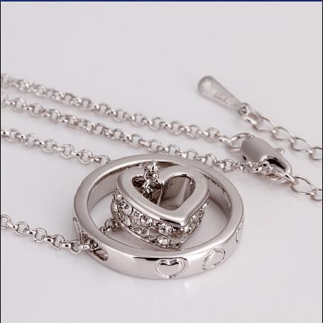 Alta qualidade banhado a ouro branco 18k o círculo checo do círculo do diamante colar de pingente frete grátis