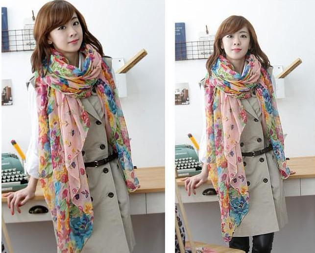10 Stück koreanische Frauen Baumwolle und Leinen ländlichen Stil gebrochen schönen langen Seidenschal Schal