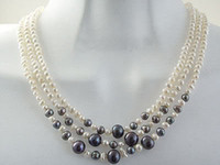 Wholesale Pearl Choker Necklace Row - Wholesale cheap 3 Rows 6-7mm Real White & Black Pearl Necklace