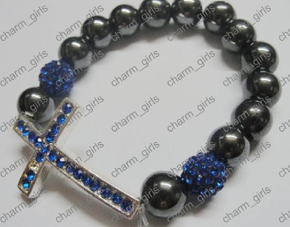 20 stks * Xmas Gift 10mm Mix Crystal Disco Pave Ball Sideway Rhinestone Cross Bracelets