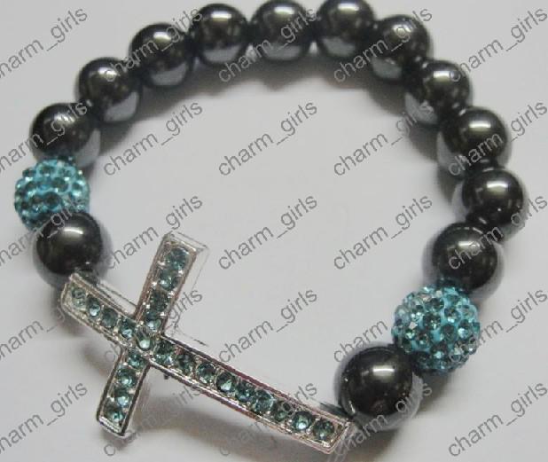 20st * Xmas Present 10mm Mix Crystal Disco Pave Ball Sideway Rhinestone Cross Armband