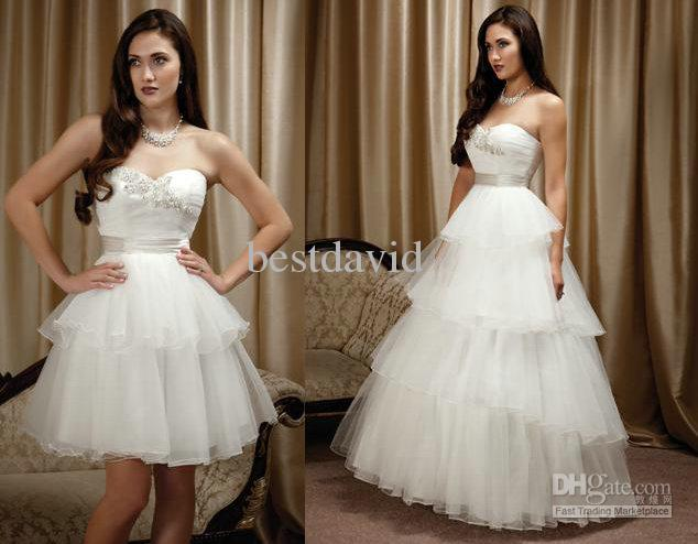 Simple Wedding Dresses Two Piece Bridal Gown 2: Cheap Two Piece Detachable Skirt Wedding Dress Ball Gown