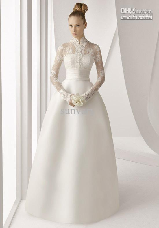 Discount 2012 new design wedding dress a line high collar long see larger image junglespirit Image collections