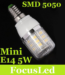 Wholesale Mini Candle Light Bulb - Mini E14 5W Led Bulb Light 27 SMD 5050 Led Corn Light 400LM 360 Angle Pure Warm White 230V Led Lamp