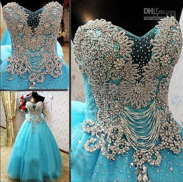 Discount New Arrival Strapless Luxury Crystals Blue Custom Online A