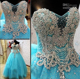 Wholesale Luxury Strapless Princess Wedding Dresses - New Arrival Strapless Luxury Crystals Blue Custom Online A-Lin Wedding Dress 2018 Bridal Gown Princess Vestidos De Novia