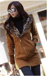 Wholesale Leopard Cardigan Fashion - New arrival Leopard outcoat fashion winter fleeces casual Hooded Hoody women's outerwear Hoodies