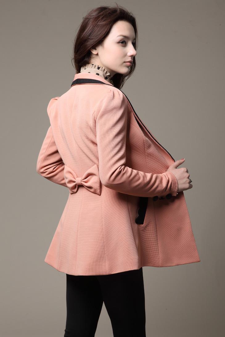 Pink Women Suit Blazers Korean Coat Jackets Winter Working Coats
