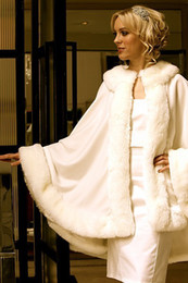 Wholesale Bridal Dress Long Coats - Stunning Bridal Cloak Capes Ivory Wedding Jacket Faux Fur Perfect For Winter Wedding Dress Swing Coat