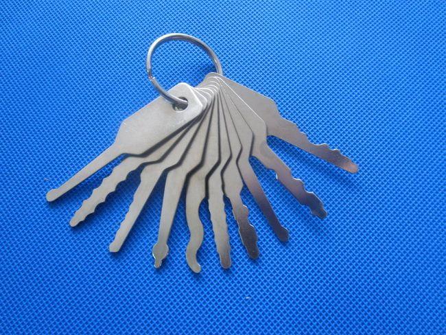 10шт Jiggler ключи блокировка Pick Для Двухстороннего Lock Lock Pick Tool S049