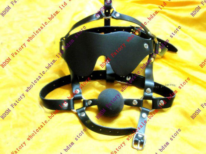 BDSM FATORY Black Soft Blindfold/Gag Combo with Rubber red and black Ball