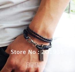 Wholesale Long Cross Bracelet - Free shipping New Fashion Leather rope bracelet,Cross,Tag,Long,Young men,Punk,Bracelets wholesale &
