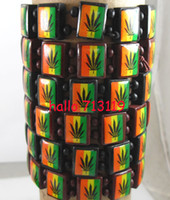 Wholesale Marley Wood - 24x Bob Marley Leaf style 2colors Mix Wood Stetch Bracelets Fashoin Wholesale Jewelry Lots