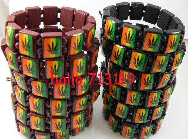 24x Bob Marley Leaf style 2 couleurs Mélanger le bois Stetch Bracelets Fashoin Wholesale Bijoux