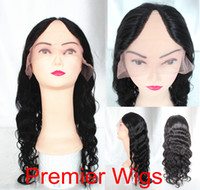 "Wholesale brand wigs - 2015 new brand machine made Indian remy hair U part wig center part 14-22""1B#,natual wave U-001"