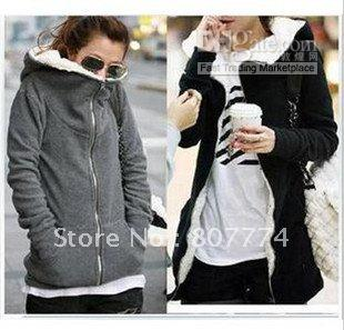 2012 Winter New Women's Zipper Up Long Sleeve Hoodie Coat Cotton ...