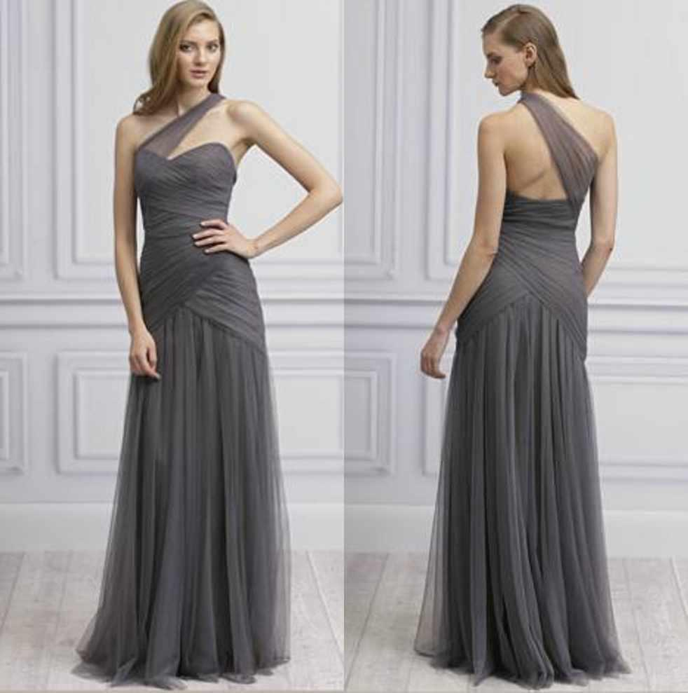 Grey Gowns Wedding: Grey One Shoulder Tulle A Line Floor Length Ruffled Long