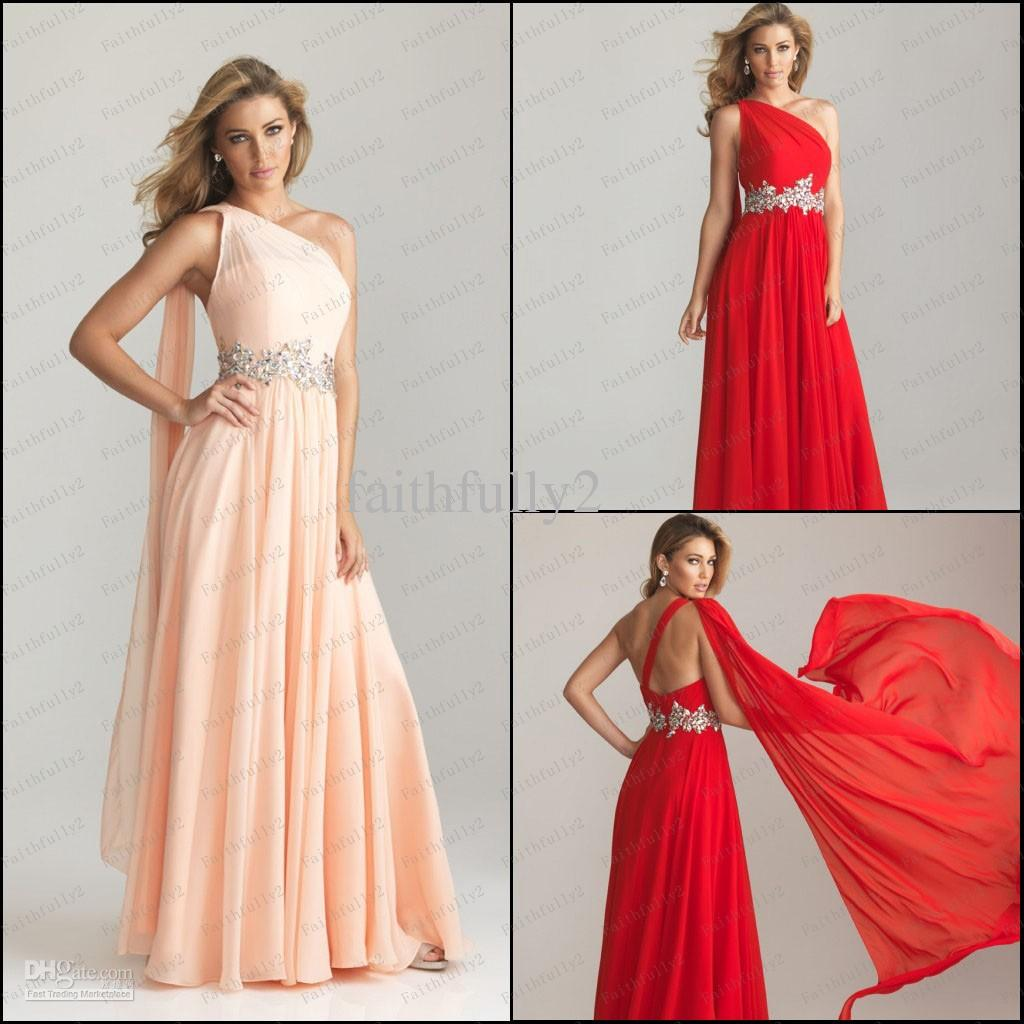 Grecian Style One Shoulder Chiffon Prom Dresses Crytial Beaded