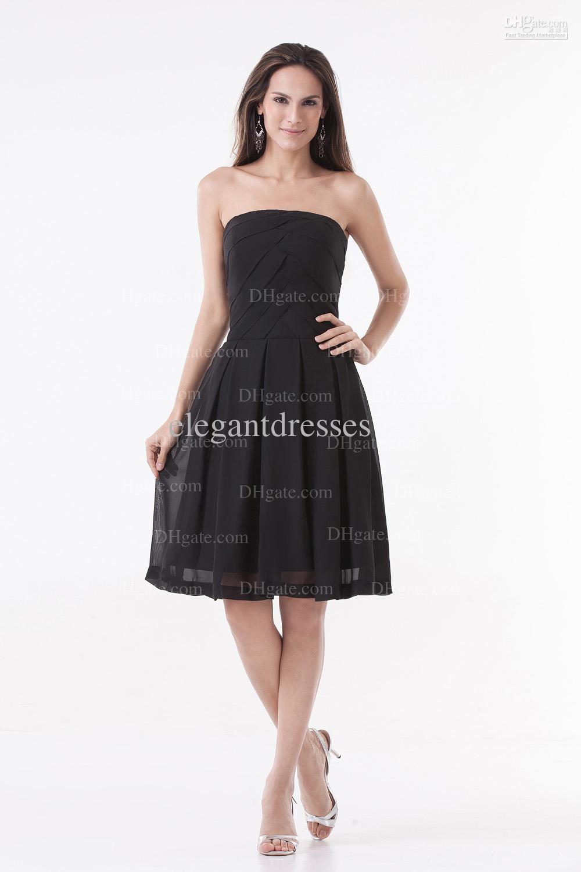Svart Sexig Strapless Enkel Mini Zipper Chiffon Party Dresses PT011