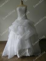 Wholesale Bubble Cascade - 2017 Elegant white Strapless Bubble Applique beaded pleated Watteau bridal gowns wedding dresses s86