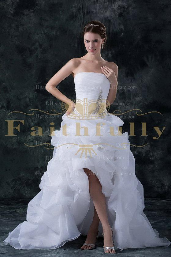 Discount hi lo beach wedding dresses bridal gowns a line for Hi lo wedding dress