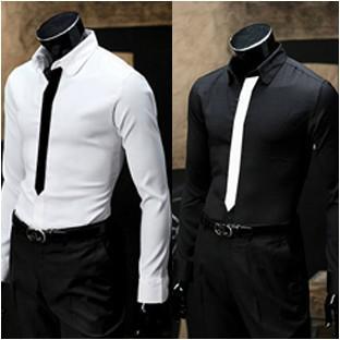 2017 New Spring Men's Fake Tie Long Sleeve Shirt / Black And White ...