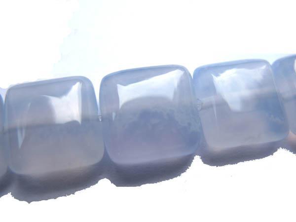 Naturblå Chalcedony Gemstone Square Box Loose Pärlor Smycken Gergous 8x8mm --5strs Lot