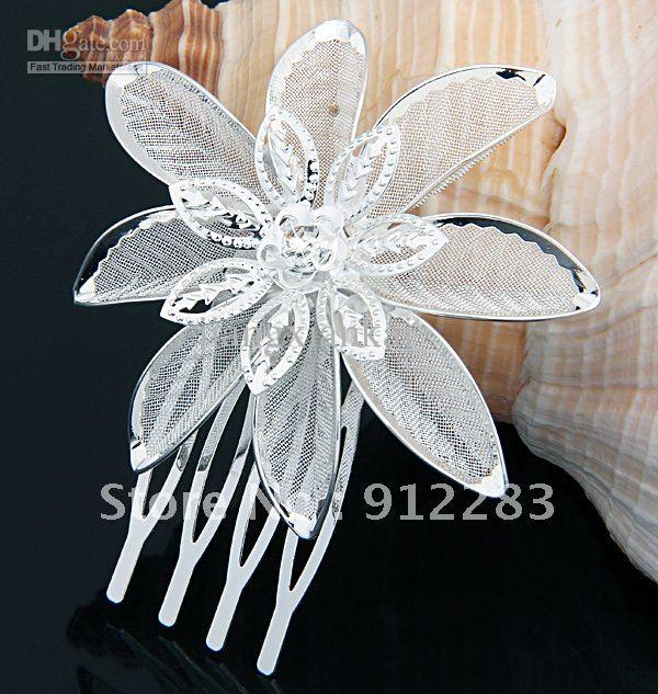 2019 Hot Fashion 6pcs Silver Plated Flower Mini Hair Comb, Bride Hair Comb Wedding bridal hair accessories pins for women be Beautiful Bride