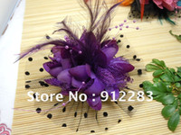Wholesale Headbands Hair Nets - Temperament women Free Shipping 10pcs Purple Net Organza Feather Flower Corsage Hair Clip & Brooch Pin wholesale