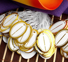 Wholesale Display Cards Bag - Free Shipping 2500pcs (5 bags) 26*19mm Oval Label Tie String Price Tags,Showcase Counter Table Jewelry Display Tags