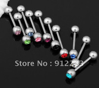 Wholesale L Steel Rhinestone Barbell Tongue Bar Ring Body Piercing
