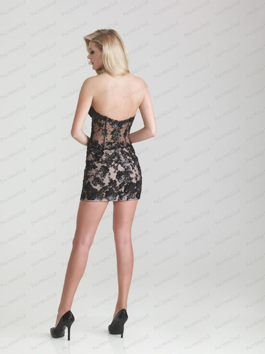 Black Cocktail Dress Short Sweetheart Beaded Lace Applique See-Through Waist Masquerade Dress P6708