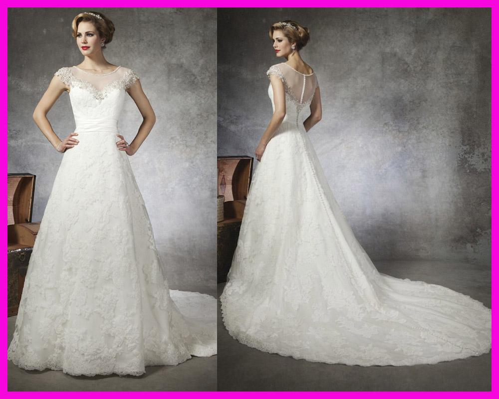Dhgate Wedding Gowns: Discount Elegant A Line Cap Sleeve Beaded Lace Wedding