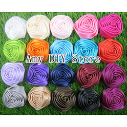 Wholesale rosette bows - 100pcs lot 1.8''-2'' Satin Rolled Rosettes,Handmade Satin Rose Flowers,Fabric Flower,BABY girls hair accessories,flowers for headband MG003