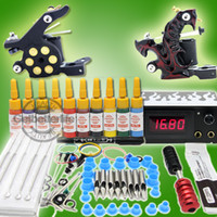 Wholesale Usa Warehouse Tattoo Ink Sets - USA Dispatch Starter Tattoo Kit 2 Machine Guns Inks Grips Needles Power Kit Set Equipment Supplies(USA warehouse) K253