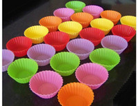 Wholesale silicone cake mold boxing - Round shape silicone jelly baking mold 7cm muffin cup cake cups cupcake