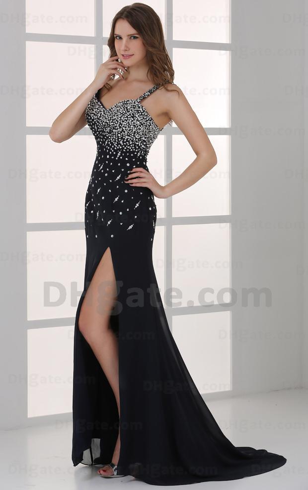 Hot Item Beleza Beading Preto Dividir Piso Comprido Sparkly Partido Prom Vestido PD108