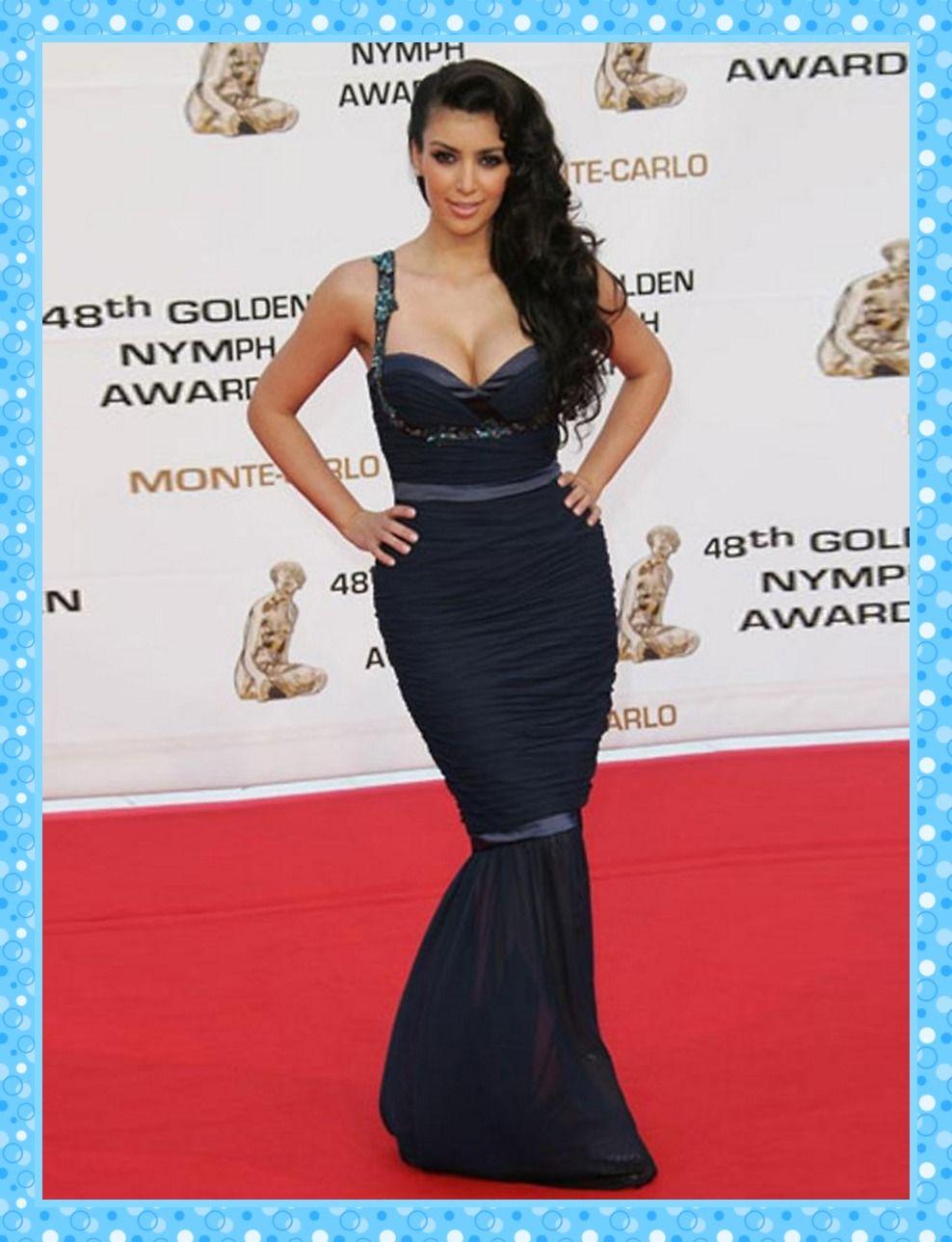 2013 Classic Kim Kardashian Dresses Mermaid Spaghetti Straps Purple ...