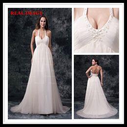 2013 Sexy White Empire Tulle Halter вышитые бисером свадебные платья с платьями Sweep Train MZ021