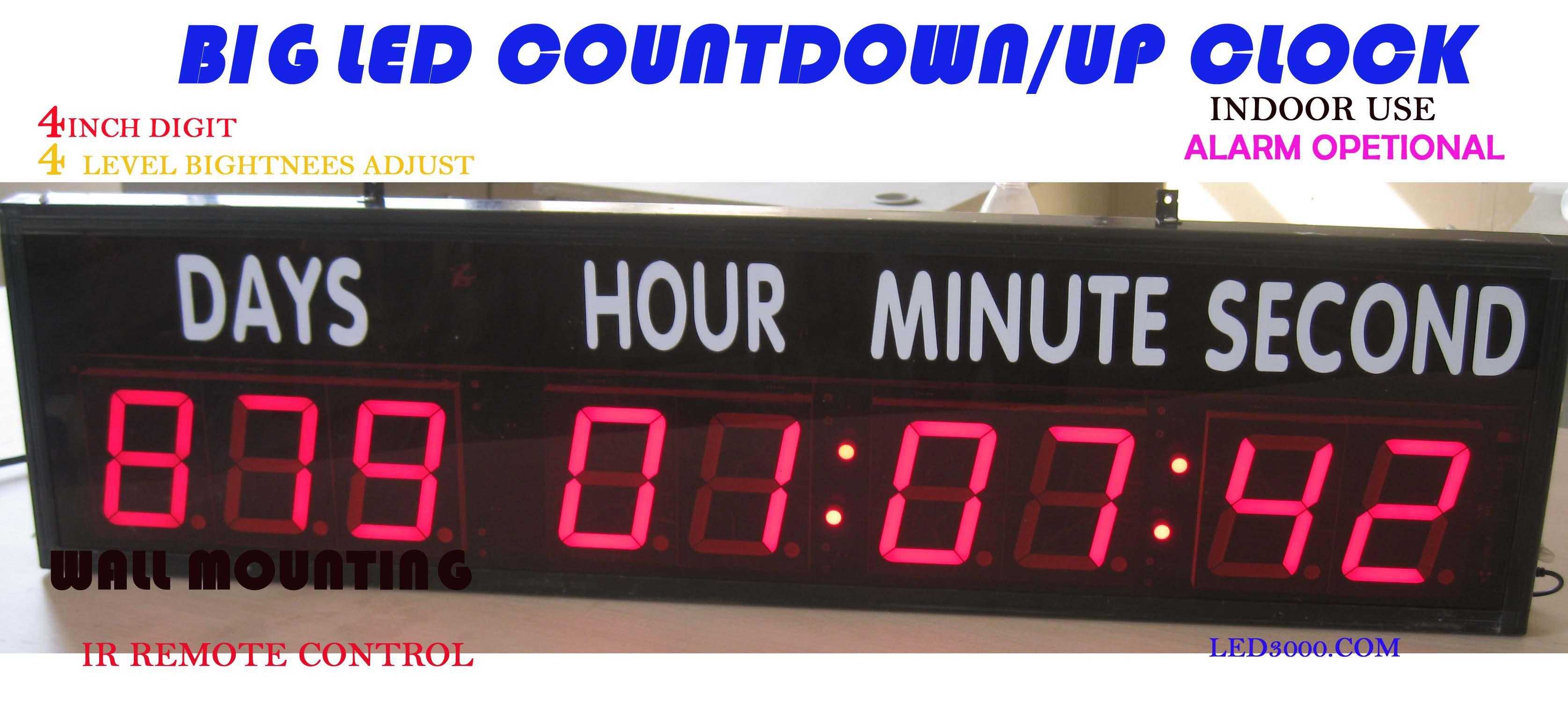 Grandes tamaños de días, horas, minutos y segundos de cuenta regresiva / hasta reloj LED actividades del temporizador, investigación y desarrollo producción objetivo c envío gratis