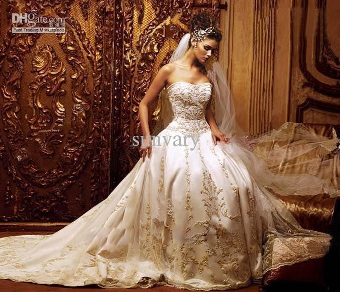 Ivory Strapless Embroidered Wedding Dresses Bridal Dresses Ball Gown ...
