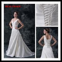 Wholesale Model Castles - 2015 A Line V Neckline Pleats Satin Wedding Dresses Floor Length Court Train Bridal Gown BY026