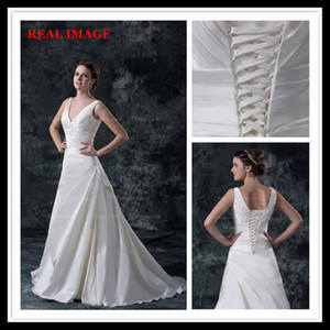 2015 A Line V Neckline Pleats Satin Wedding Dresses Floor Length Court Train Bridal Gown BY026 on Sale