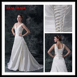 Wholesale Designer Bridal - 2015 A Line V Neckline Pleats Satin Wedding Dresses Floor Length Court Train Bridal Gown BY026