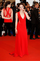 Wholesale Kristen Stewart Sexy Dress - Kristen Stewart Gorgeous Red V Neck Red Carpet Celebrity Dress the 65th Annual Cannes Film Festival