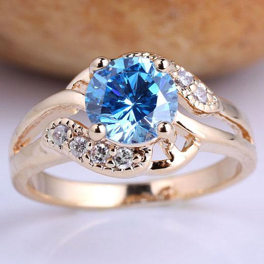 2018 Gold Filled Fashion Ring Size 7 Ladies Round Cut Blue Topaz Birthday Gift GF J7485 From Timejewel 1823