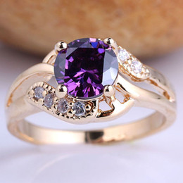 Wholesale Gifts For Gf - 6 Pieces Gold Filled Cocktail Party Ring Size 8 for Ladies Round Cut Purple Amethyst GF J7529