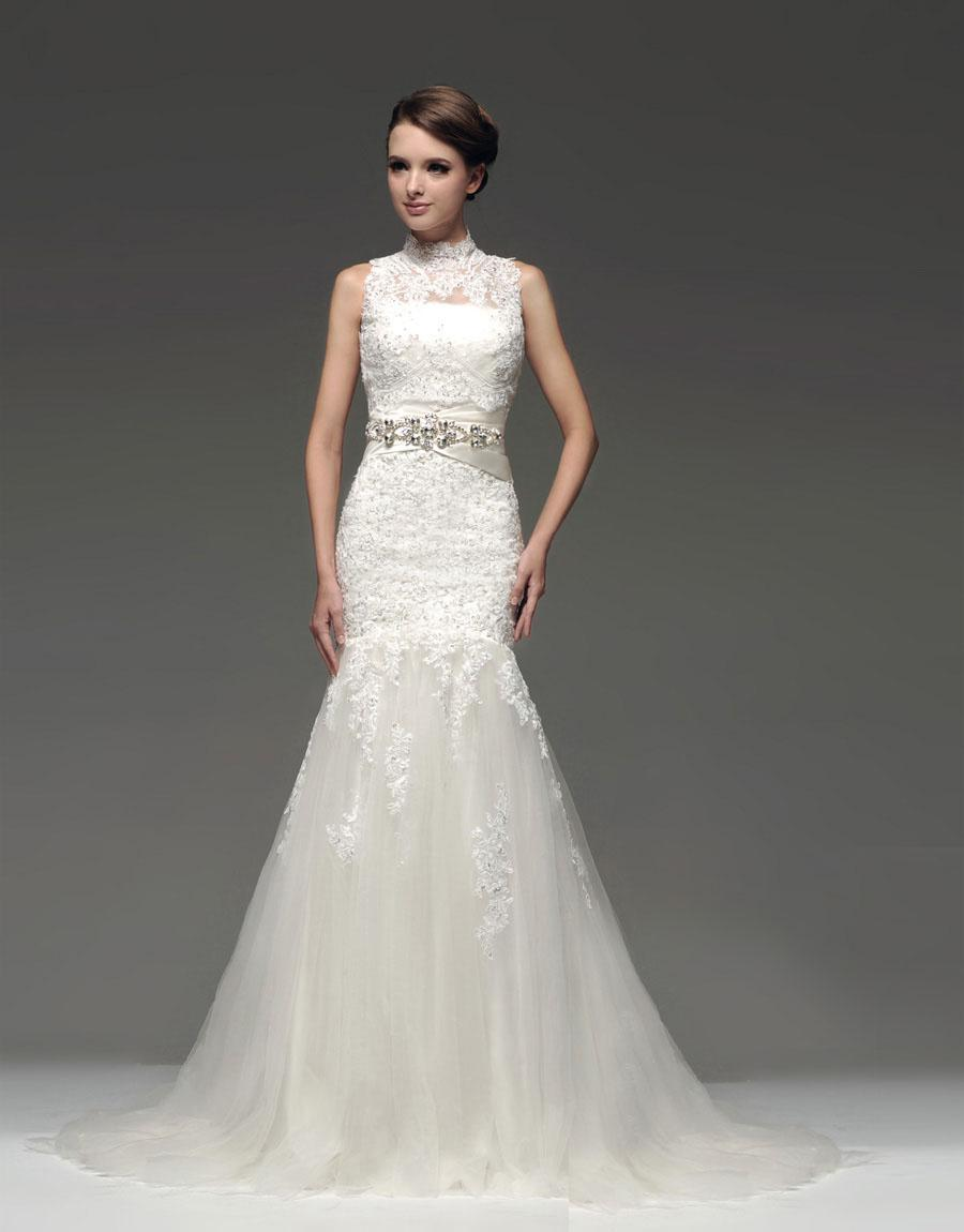 Mermaid wedding dresses strapless lace applique tulle wedding gown see larger image ombrellifo Images