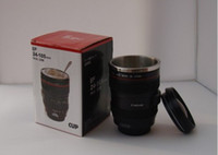 Wholesale New Generation Camera - Camera Lens 6 generation brand new stainless steel lens Collectors Cup   Travel Mug plastic black