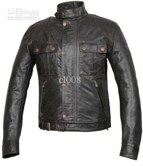 Män Läder Jackor Senaste Style Exquisite Cow Läder Långärmad Tight Fit Classic Gratis frakt